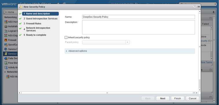 Create NSX security groups and policies   Deep Security